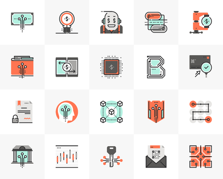 Flat line icons set of financial technology, blockchain industry. Unique color flat design pictogram with outline elements. Premium quality vector graphics concept for web, logo, branding, infographics.