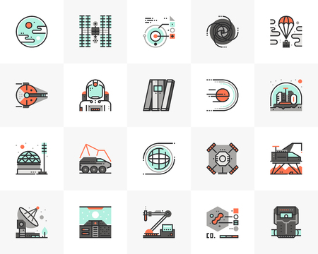 Flat line icons set of space mission, interstellar exploration. Ilustrace