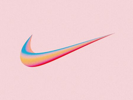 Kyiv, Ukraine - September 6, 2019: An artistic illustration of the Nike swoosh logo on a pink background. Nike, Inc. is an American corporation, the world's largest supplier of athletic apparel.