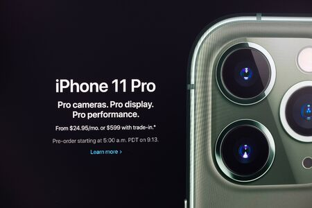 Kyiv, Ukraine - September 12, 2019: A shot from apple.com website about the Apple Inc. officially announced the iPhone 11 Pro at Apple Special Event at September 10, 2019.