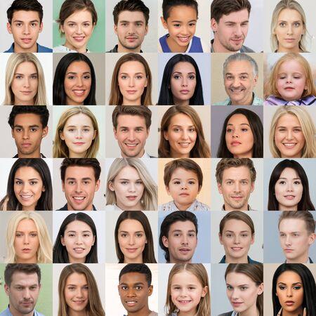 Kijów, Ukraina – 17 września 2019: Kolaż hiperrealistycznych ludzkich twarzy generowanych przez sztuczną inteligencję, stworzony przez GAN – generatywną sieć adwersarzy, klasę sieci neuronowych wymyśloną przez badaczy NVidii. Publikacyjne