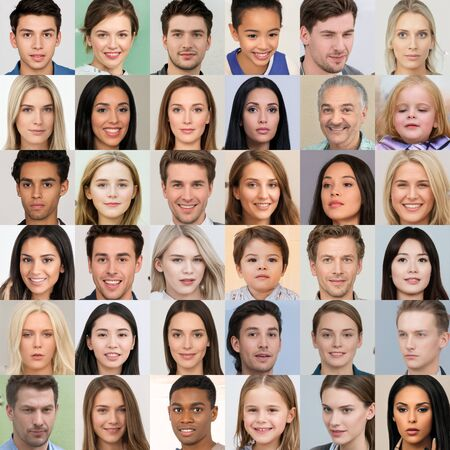 Kyiv, Ukraine - September 17, 2019: Collage of hyperrealistic AI-generated human faces, created by GAN - generative adversarial network, a class of neural networks that invented by NVidia researchers. Sajtókép