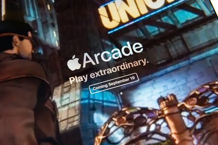 Kyiv, Ukraine - September 19, 2019: A close-up shot of apple.com website with an announcement about Apple Inc. officially released the Apple Arcade, the subscription gaming service.
