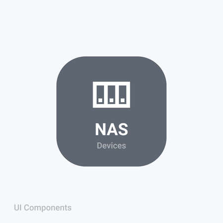 nas storage data backup files fully editable vector icon referring 24x24 pixel grid with the material design system for app design projects.