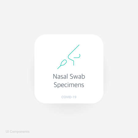 Nasal Swab Specimens, Refined COVID-19 medical function and information popover UI/UX design template. fully editable vector.