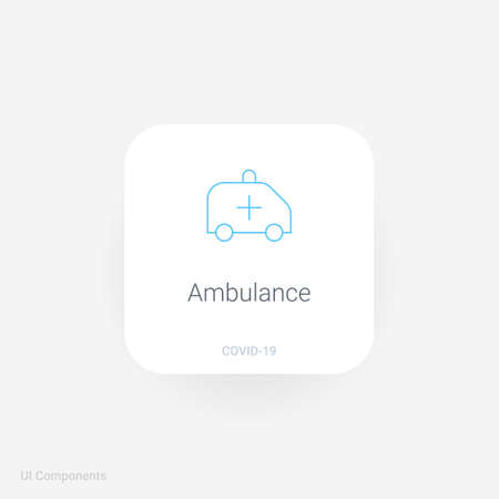 ambulance patient transfer emergency, Refined COVID-19 medical function and information popover UI/UX design template. fully editable vector.