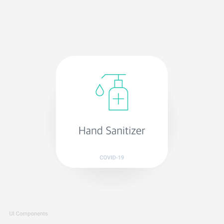 hand sanitizer hygiene hand gel alcohol, Refined COVID-19 medical function and information popover UI/UX design template. fully editable vector.