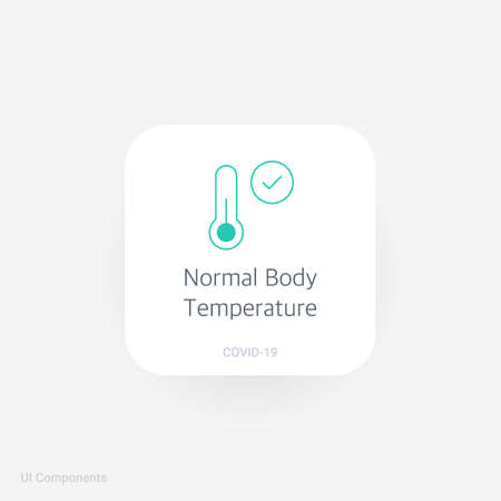 Thermometer Normal Body Temperature, Refined COVID-19 medical function and information popover UI/UX design template. fully editable vector.