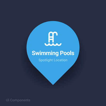 swimming pools spotlight location and navigation map Icon.