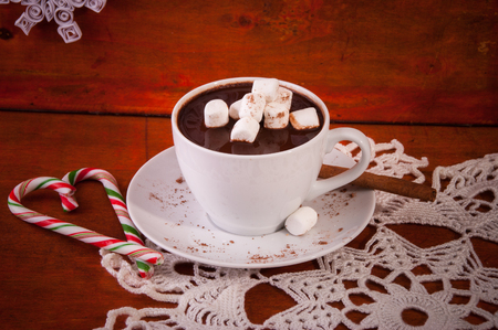 marshmellow: Hot Choclate in White Cup with Cinnamon Stich, Marshmellow and Candies