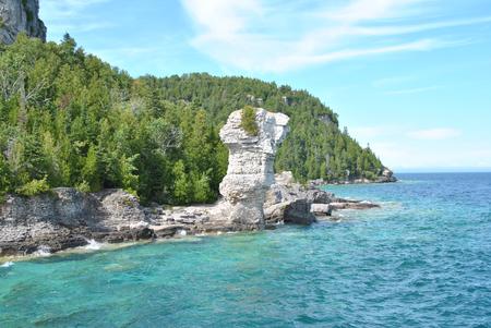 岩海岸、植木鉢の島、ジョージア湾、Tobermory, オンタリオ州, カナダ