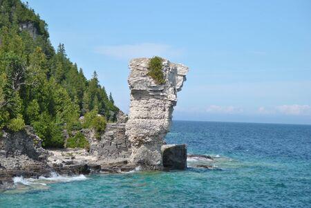 georgian: Rock Formations at the Coast, Flowerpot Island, Georgian Bay, Tobermory, Ontario, Canada Stock Photo