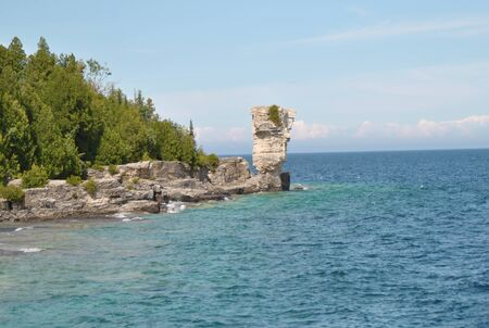 eroded: Rock Formations at the Coast, Flowerpot Island, Georgian Bay, Tobermory, Ontario, Canada Stock Photo