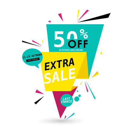 Extra sale website banner design. Sale tag. Clearance, special offer poster. Advertisement ad, sale flyer, discount label, sale web sticker, promotional material vector illustration. Sale background