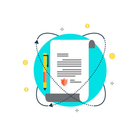 Policy insurance, signing contract, confidential document, certificate, warranty flat vector illustration design. Design for web banners and apps Illustration