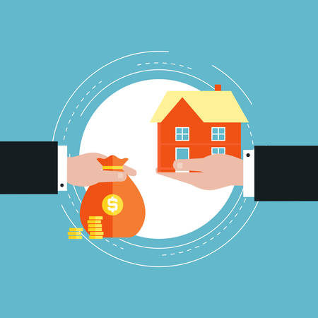 Real estate investment, mortgage concept flat vector illustration design. Real estate market, buying, renting house design for web banners and apps Illustration