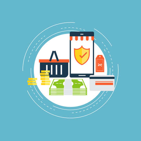 Secure online shopping flat vector illustration design. Safe online payments, m-commerce, m-banking, discounts, retail. Safe online money transfers. Icon design for web banners and apps