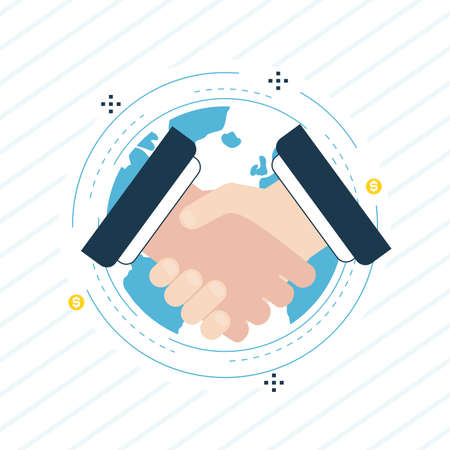 Handshake, business people cooperation, working collaboration flat line vector illustration design. Business and finance design for web banners and apps