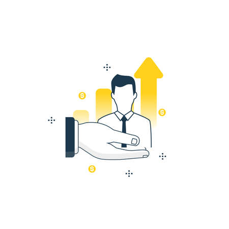 ceo: Businessman, business optimization flat line vector illustration design. Consulting in business and finance, professional business assistance, financial advisor concept Illustration