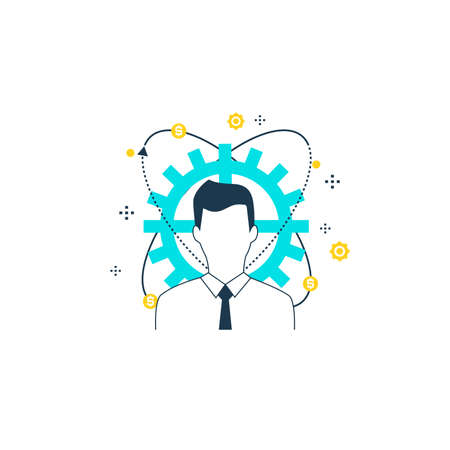 Businessman, business optimization flat line vector illustration design. Consulting in business and finance, professional business assistance, financial advisor concept Illustration