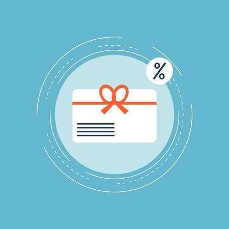 Carta regalo, offerta speciale, carta bonus, coupon di sconto, design piatto illustrazione vettoriale carta premium per banner web e applicazioni Archivio Fotografico - 84259673