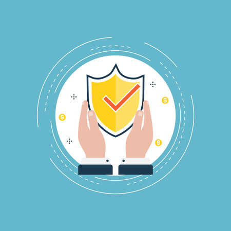 Secured information, data privacy, shield protection and access authorization flat vector illustration design. Data safety design for web banners and apps