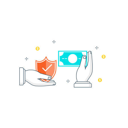 Secure money transactions flat line vector illustration design for web banners and applications.
