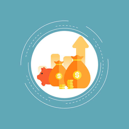 Financial investments, financial growth, revenue increase, budget management flat vector illustration design. Business and financial forecasting, money savings design for web banners and apps Vektoros illusztráció