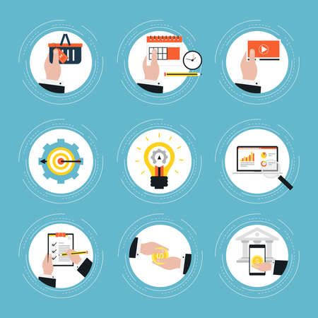 Set of flat business icons vector illustration. Icon collection for web banners and apps Illustration