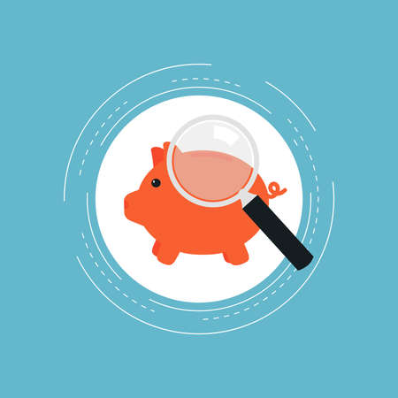Piggy bank flat vector illustration design. Financial savings, money funds, deposit investment, banking, economy, monitoring, money management. Icon design for web banners and apps Illustration