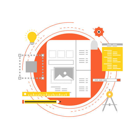 Web design and application development with API interface flat vector illustration