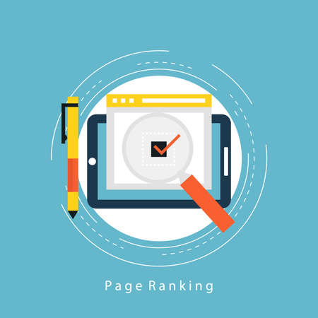 Website ranking and evaluation flat vector illustration design. Top page online, webpage popularity concept. Design for web banners and apps