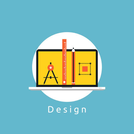 Web design flat vector illustration. Web design development, content management, logo and graphic design, freelance work, design agency and portfolio concept for web banners and apps