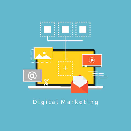 Digital marketing flat vector illustration. Online marketing, social marketing, content management, digital promotion, internet and web advertising concept for web banners and apps