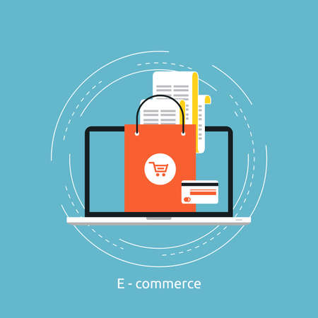 E-commerce flat vector illustration design. Business concept for online shopping, e-banking, discounts, sales, wire transfers, m-banking. Icon design for web banners and apps