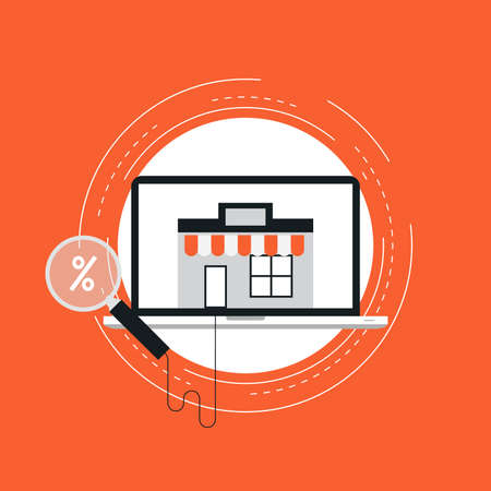 E-commerce flat vector illustration design. Online shopping, e-banking, discounts, retails, sales, wire transfers, m-banking, money management business concepts. Design for web banners and apps