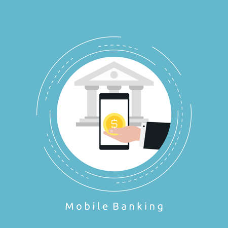 Mobile banking flat vector illustration design. Mobile payments, m-banking, internet banking, discounts, sales, wire transfers, money management business concepts. Design for web banners and apps