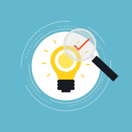 Idea approved, project approved flat vector illustration design. Creative idea, lightbulb with magnifier. Icon design for web banners and apps