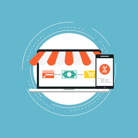 E-commerce flat vector illustration design. Business concept for online shopping, e-banking, discounts, sales, wire transfers, m-banking