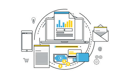 electronic commerce: Online transactions concept Illustration