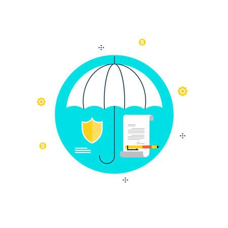 保険、契約、機密文書、証明書、保証フラット ベクトル イラスト デザインの署名ポリシー。ウェブのバナーやアプリのデザイン  イラスト・ベクター素材