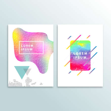 Fluid color cover design with gradient vector illustration. Minimalistic design. Background with dynamic design. Colorful pattern texture. Modern cover design. Template background Vettoriali