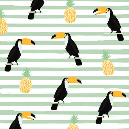Pineapple and toucan with stripes seamless pattern background. Tropical poster design. Summer and holidays background. Wallpaper, invitation card, textile print vector illustration design Иллюстрация