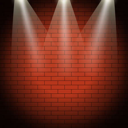 Brick wall pattern. Seamless illuminated brick wall background vector illustration