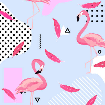 Trendy pastel background with flamingo birds and feathers. Summer vector illustration design with geometric elements