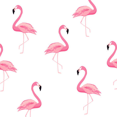 Seamless flamingo pattern background. Flamingo poster design. Wallpaper, invitation cards, textile print vector illustration design