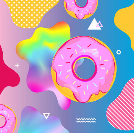 Fluid multicolored background with donuts vector illustration. Fluid color cover design with geometric shapes and donuts. Colorful food pattern texture. Template background