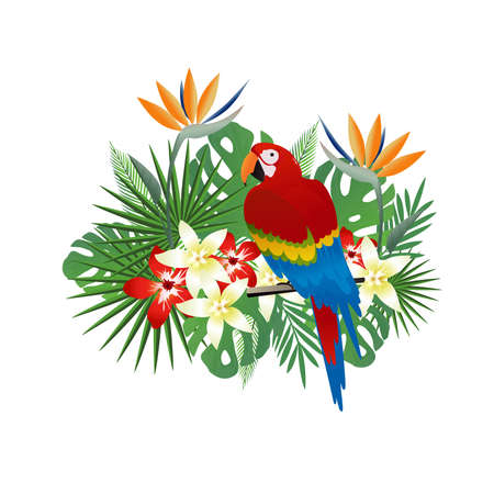 Tropical background with parrot and tropical leaves. Summer vector illustration design. Floral background. Exotic background poster
