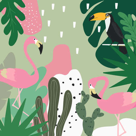 Tropical jungle leaves background with flamingos and toucan. Summer vector illustration design. Flamingo and toucan background. Exotic background poster. Tropical leaves art print Иллюстрация