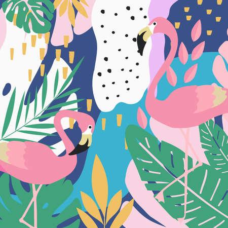 La giungla tropicale lascia la priorità bassa con i fenicotteri. Disegno di illustrazione vettoriale di estate. Sfondo Flamingo. Poster di sfondo esotico. Stampa artistica di foglie tropicali